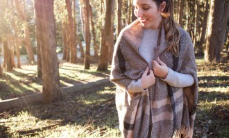 Cozy Outfits & Sunset Walks in the Presidio   featuring Madewell scarf cape, & other Stories grey sweater, Lou & Grey jeans and Veja esplar white & red sneakers   Wolf & Stag