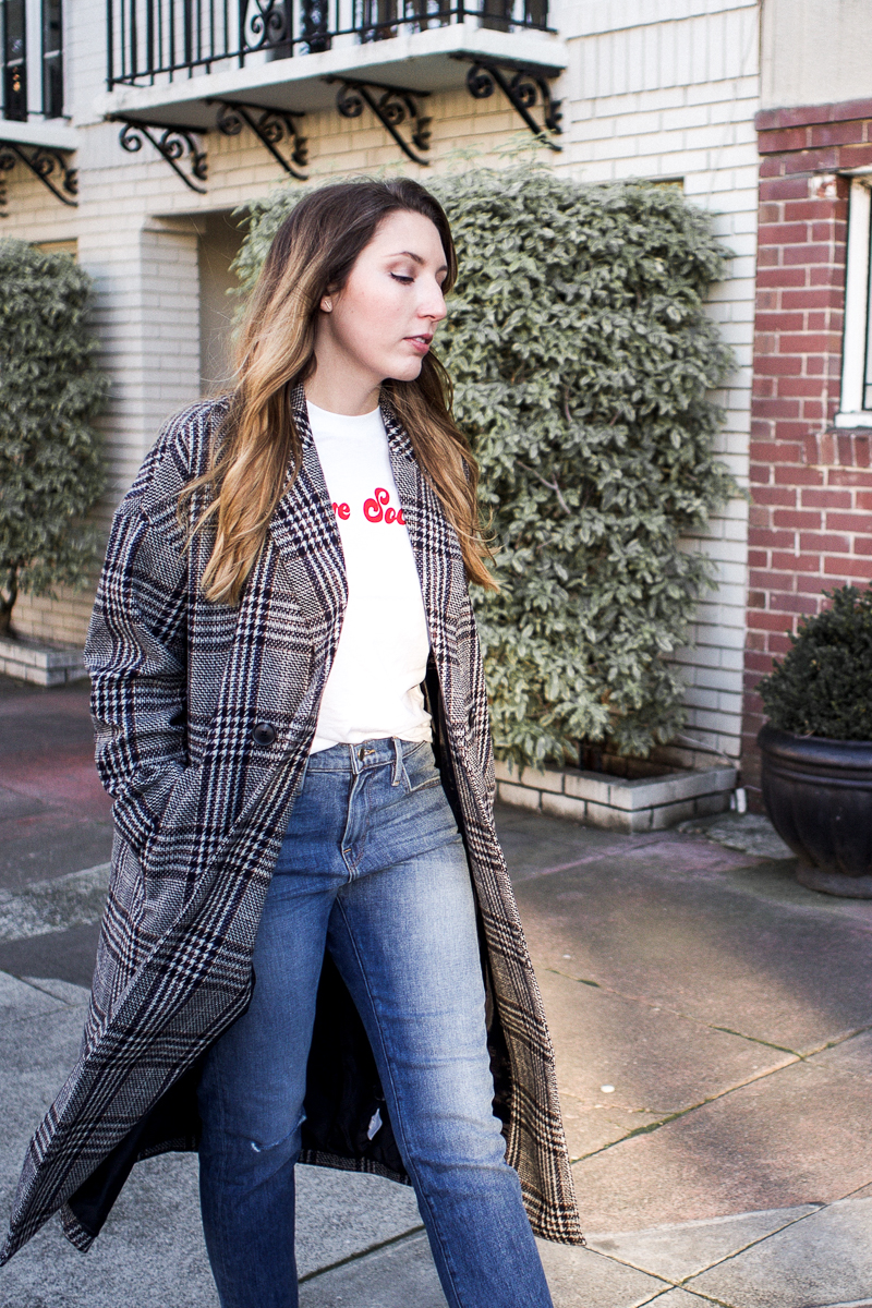 My Favourite Coat for Not-So-Cold Days | Featuring Madewell long checked coat, Ganni logo tee, Frame straight jeans and Sam Edelman black suede boots | Wolf & Stag