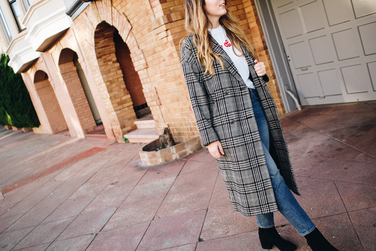 The Capsule Coat Edit   Featuring Madewell long checked coat, Ganni logo tee, Frame straight jeans and Sam Edelman black suede boots   Wolf & Stag
