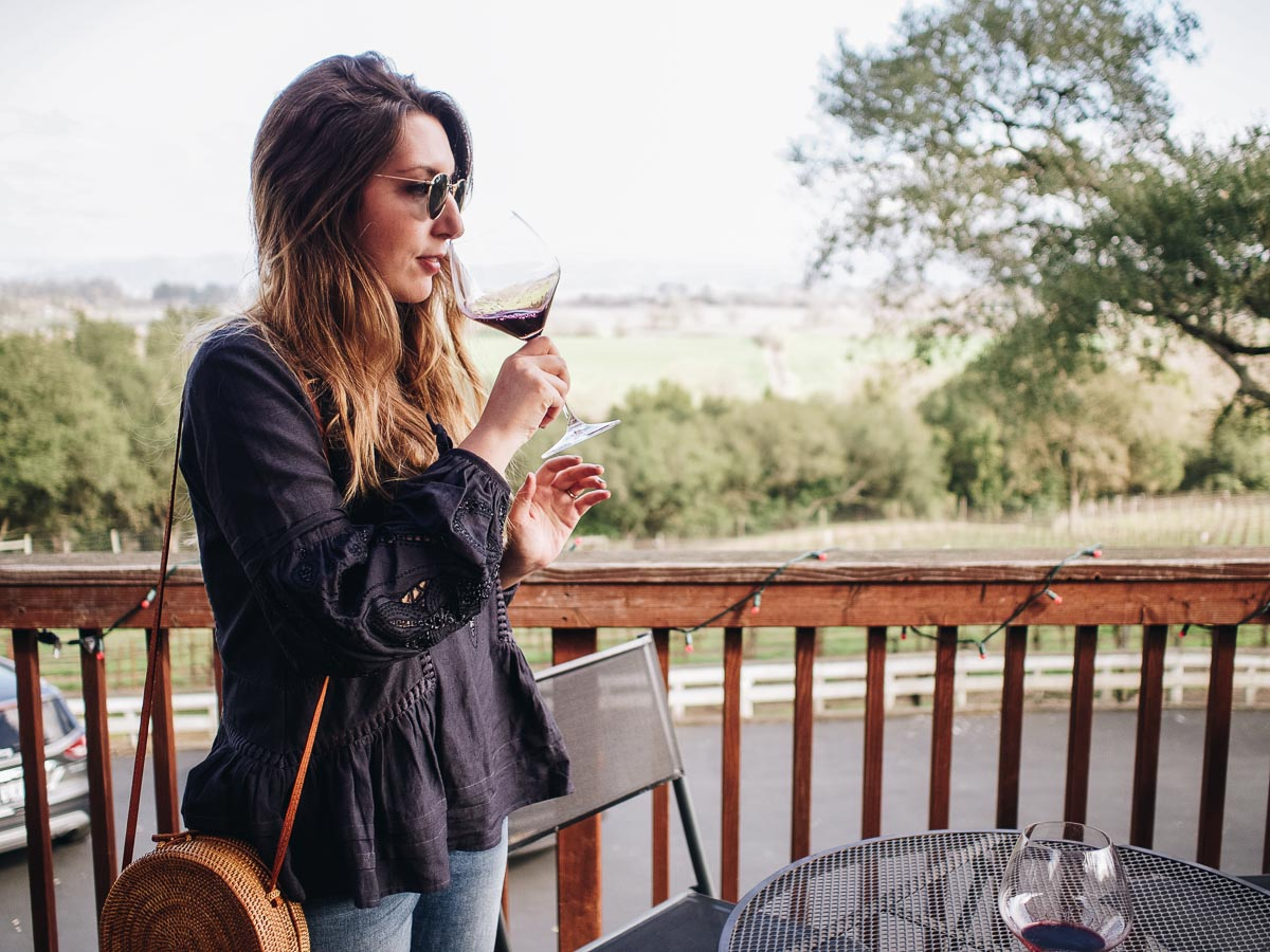 One Night in Wine Country   Wearing a Kirei navy blouse and Ray-Ban Sunglasses   Wolf & Stag Adventures