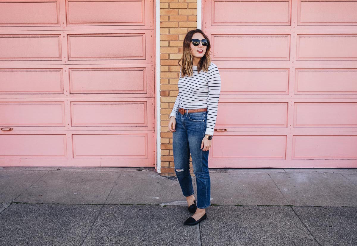 Dressing for Paris in San Francisco | Featuring a Club Monaco striped top, Frame cropped jeans, a vintage brown belt, black J Crew flats, Wood/Grey basket bag, Neubau black sunglasses | Wolf & Stag