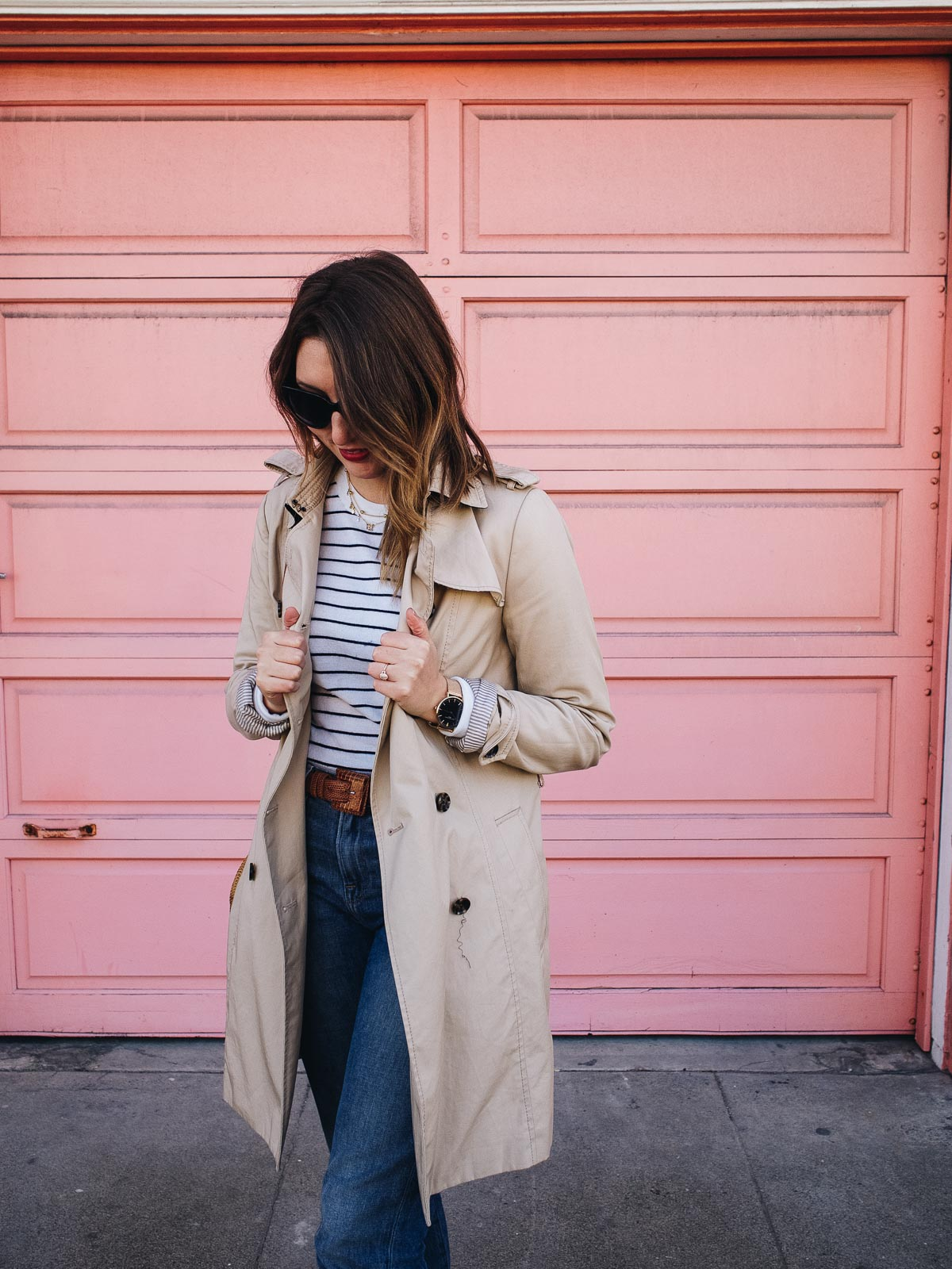 Dressing for Paris in San Francisco | Featuring a Club Monaco striped top, Frame cropped jeans, a vintage brown belt, black J Crew flats, Wood/Grey basket bag, Neubau black sunglasses and a Banana Republic classic trench | Wolf & Stag