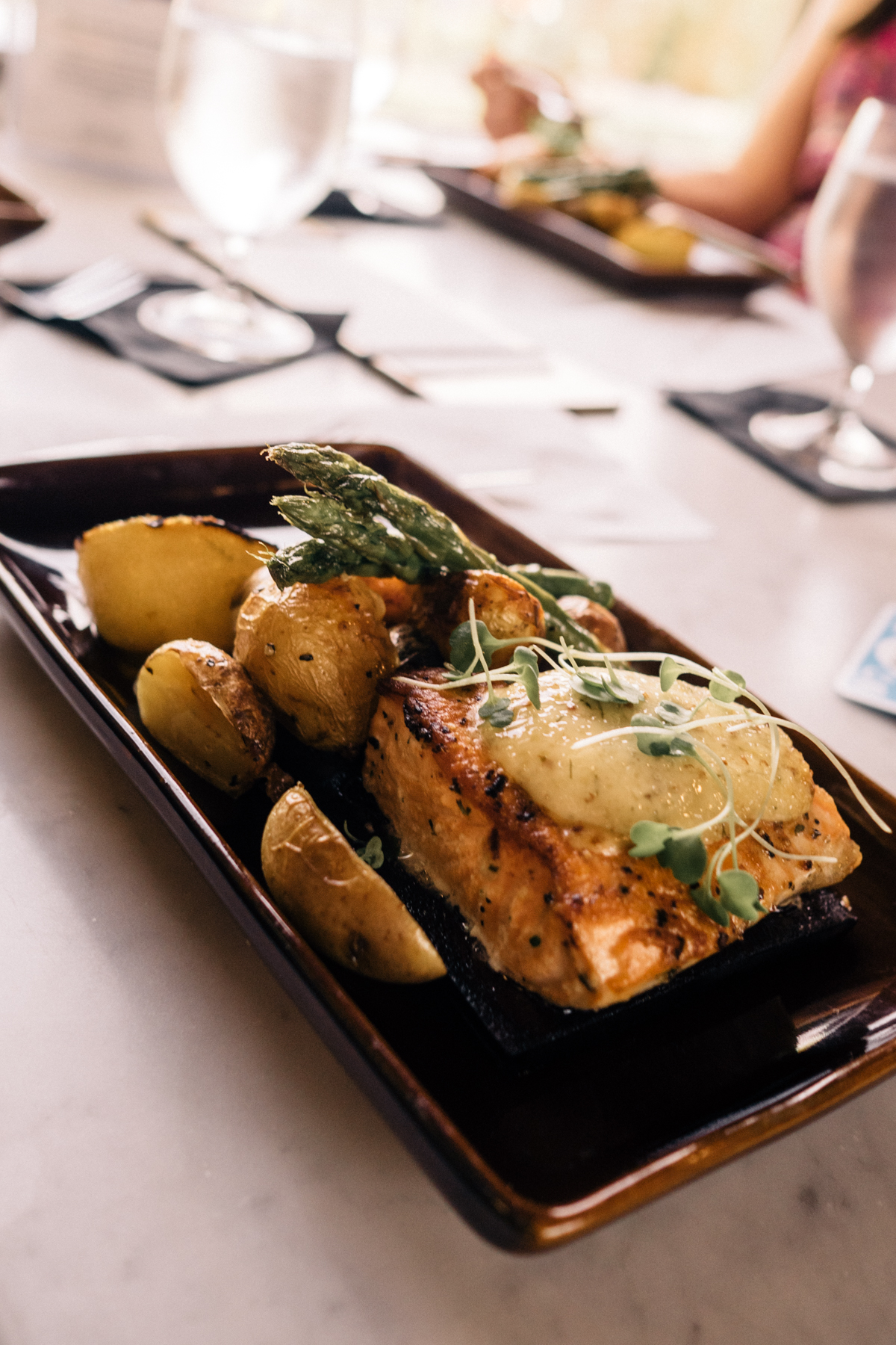 All Aboard the Napa Valley Wine Train   Mustard-glazed salmon for lunch   Wolf & Stag
