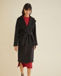 The Sustainable Winter Coat Edit   Amour Vert Black Wrap Wool Coat