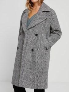 The Sustainable Winter Coat Edit   Frank & Oak Herringbone Wool Coat