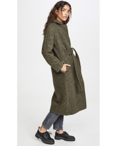 The Sustainable Winter Coat Edit | Ganni Green Boucle Wool Coat