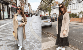 Two pictures of Erin Pollard standing in London wearing bump-friendly non-maternity dresses