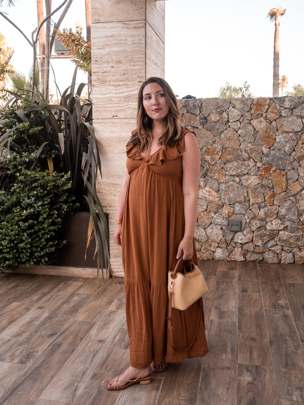 Packing for a Greece babymoon, featuring Warehouse amber ruffle dress, Elleme Baozi tote, and Loq strappy sandals   W&S