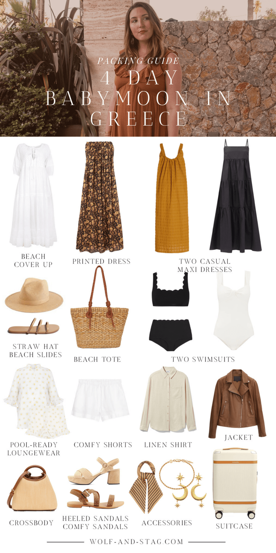 A collage of what to pack for 4 day Greece trip in the Summer, filled with hues of ochre, tan, black and white
