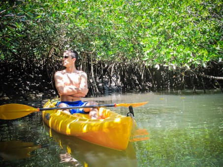 A centaur kayaking in the San Blas mangrove
