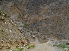 Heavy rains and mudslides caused half the mountain to wash away, making for an interesting 'road'