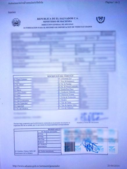 """The """"Autorizacion para el regimen de importacion de vehiculo usados"""" allowing your vehicle into El Salvador"""