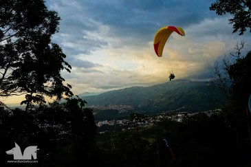The evening view from Paraglide COlombia Hostel.