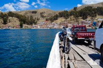 The small and dodgy ferry crossing the Estrecho de Tiquina