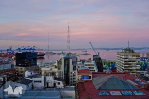 Sunset over the Valaparaiso harbour