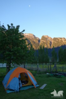 Our campsite with majesctic mountain guardians at Camping Torres del Simpson