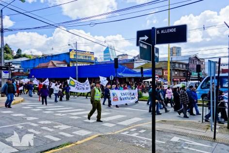 Teachers protesting in Puerto Montt