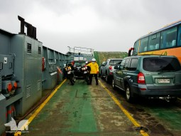 On the ferry to Chiloe Island in cold, rainy conditions
