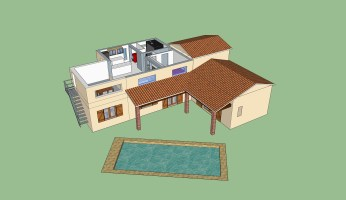 3D mockup created with Sketchup showing the extension project