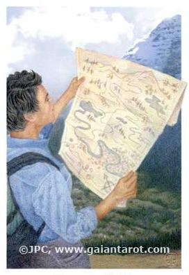 Hiker Reading Old School Map - Artowrk by Joanna Powell Colbert