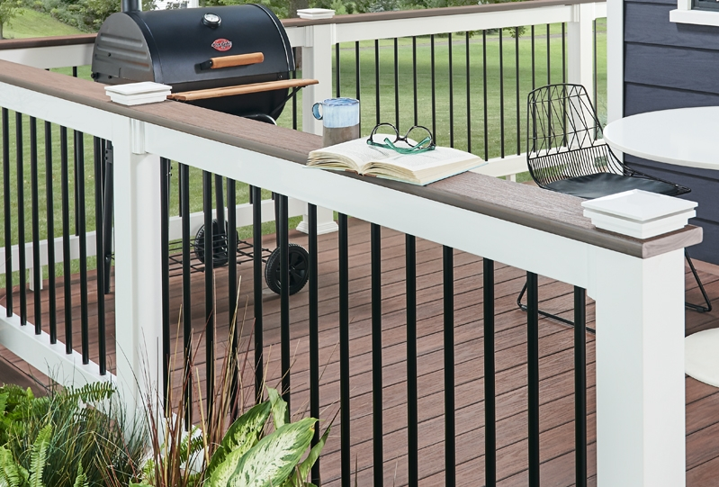 Composite Pvc Railing Systems Wolf Home Products   Vinyl Railing For Steps   Plastic   Leadvision   Exterior   2 Step   Front Door