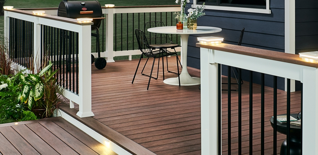 Wolf Deck Porch Railing Systems Wolf Home Products | Wood Railing On Concrete Porch | Surface Mount | Wood Decorative | Vinyl | Front Entry Stair | Bluestone Patio
