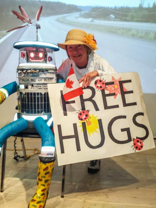 Hugging hitchBOT