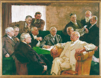 """The managing board of I.G. Farben AG, called the """"Council of the Gods"""" by employees, painting by Hermann Gröber. At front left in the picture is Carl Bosch, at front right is Carl Duisberg'© HistoCom GmbH"""