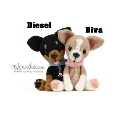 hondjes van sokkenwol chihuahua diva of diesel haakpakket
