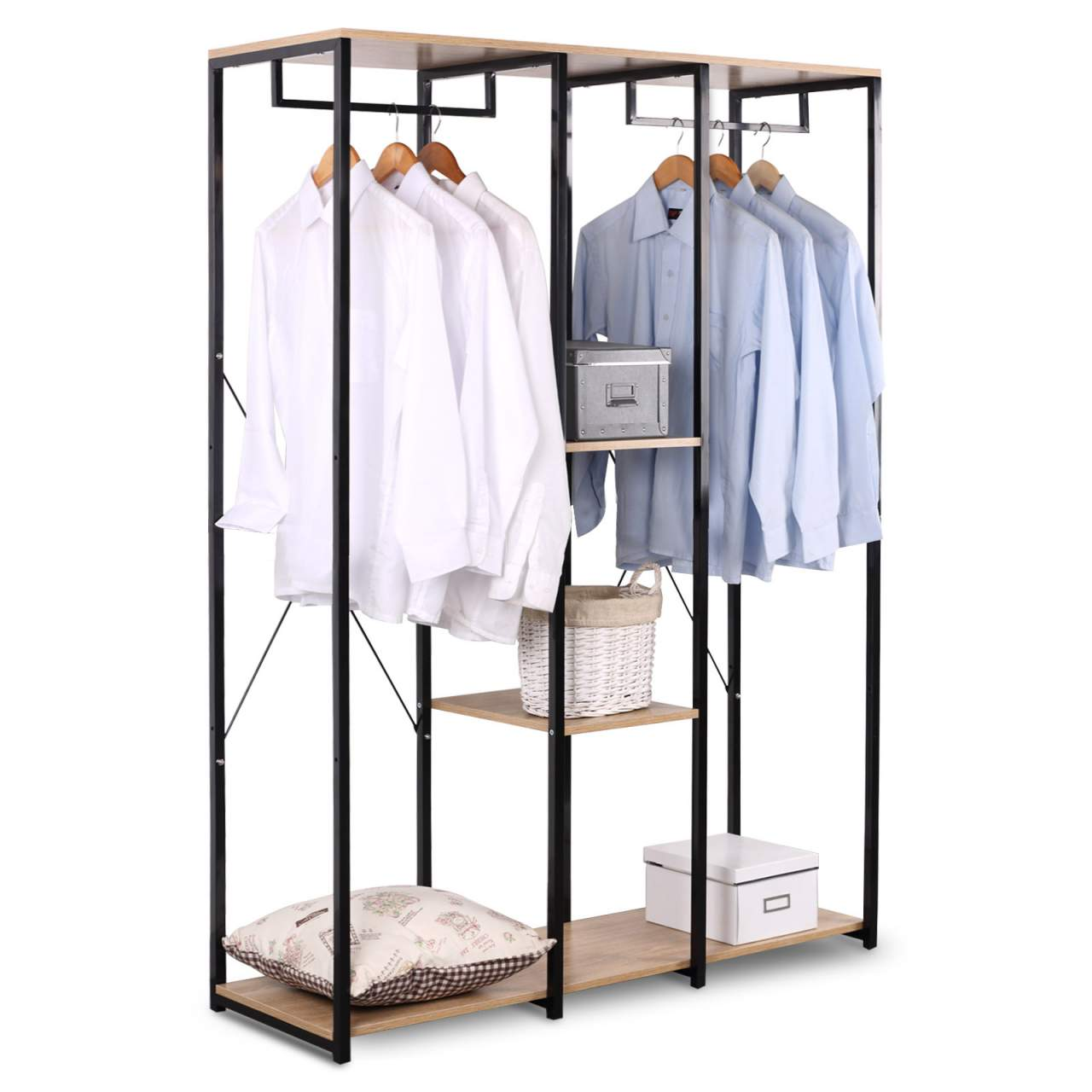extra large clothes rail shoe rack with shelf in wood steel
