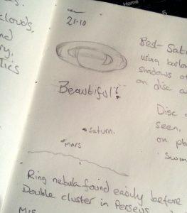Observation book - A sketch of Saturn