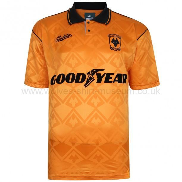 Score Draw's repro Wolves 1990-1992 home shirt