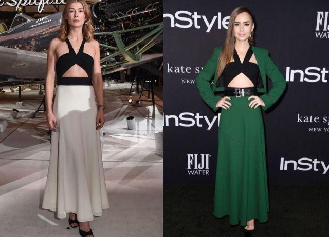 Розамунд Пайк и Лили Коллинз в костюме Givenchy