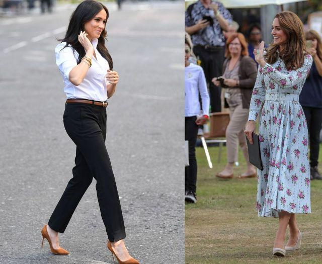Стиль герцогинь: нежное цветочное платье Кейт Миддлтон и деловой костюм Меган Маркл