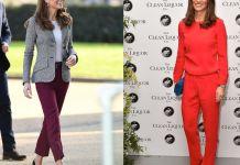 Пиппа и Кейт Миддлтон в красных брюках