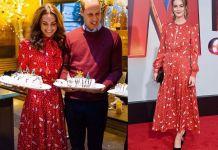 Кейт Миддлтон и Лейтон Мистер в платье Alessandra Rich