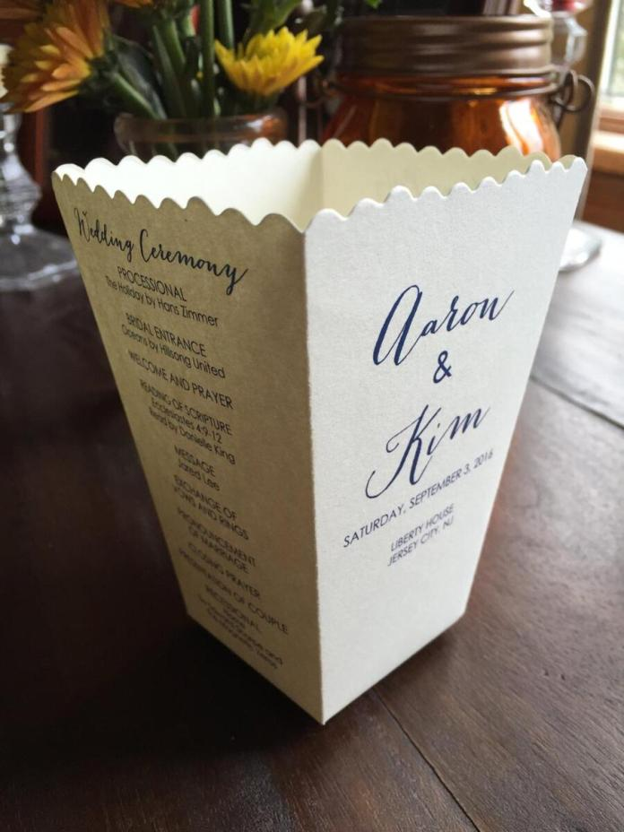 wedding program popcorn