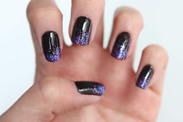 μαυρα-glitter-nails