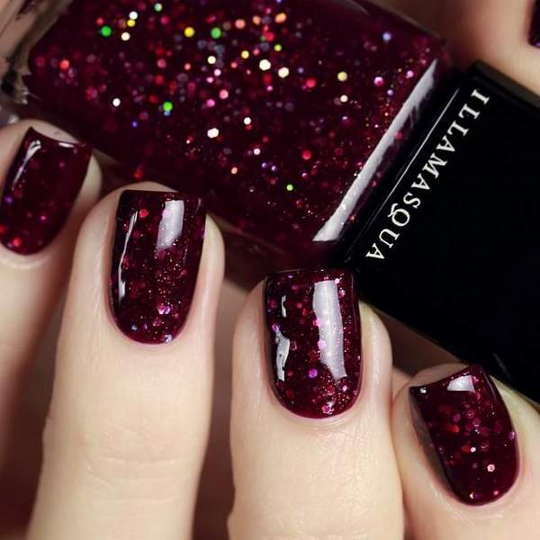 κοκκινα-glitter-nails