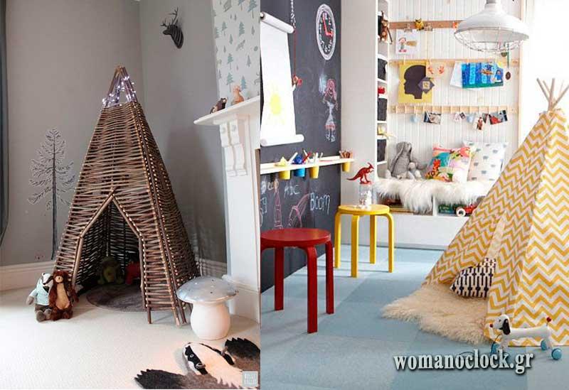 Σκηνές στο παιδικό δωμάτιο για ατελείωτο παιχνίδι