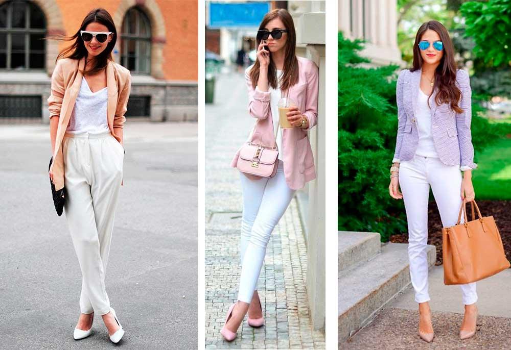 λευκό παντελόνι με παστέλς