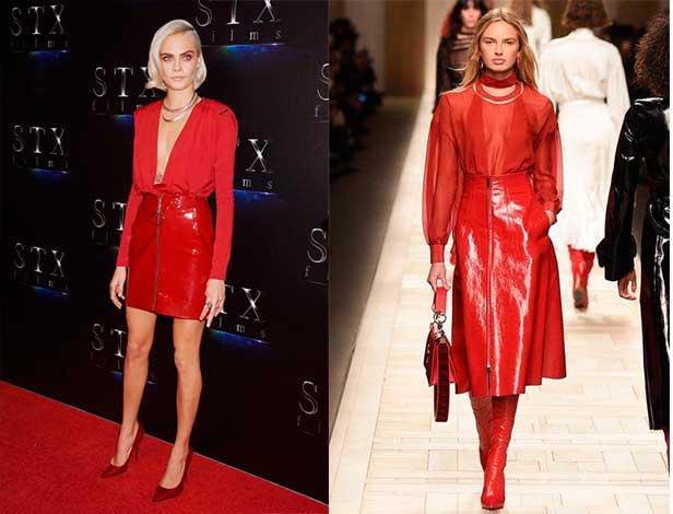 Πως να φορέσεις κόκκινη φούστα vinyl