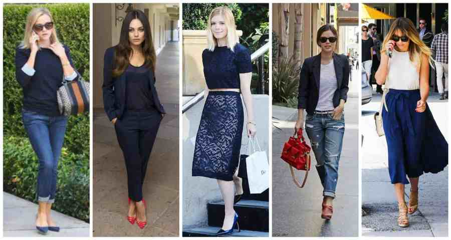 celebrities wearing navy