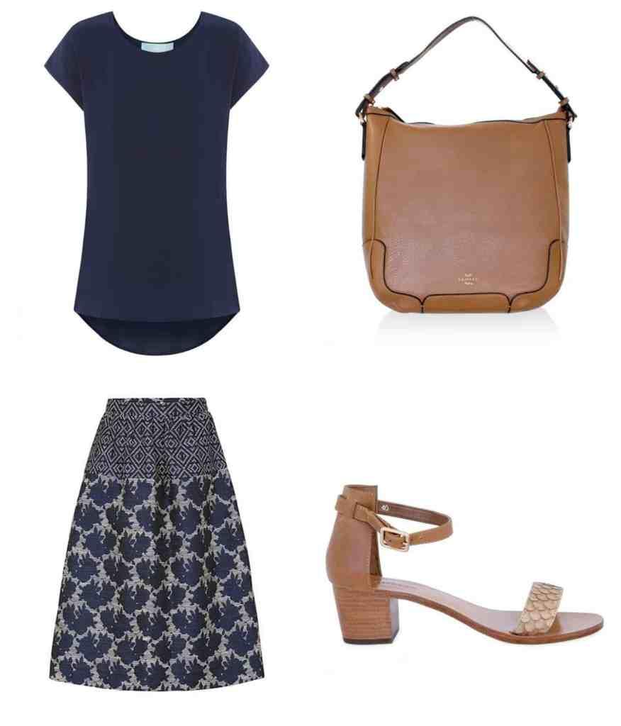 sambag-silk-top-skirt-tan-sandals-handbag