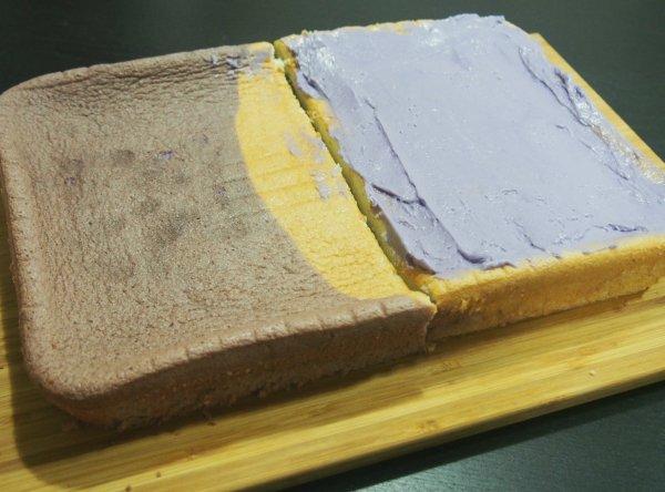 ube vanilla chiffon cake slliced