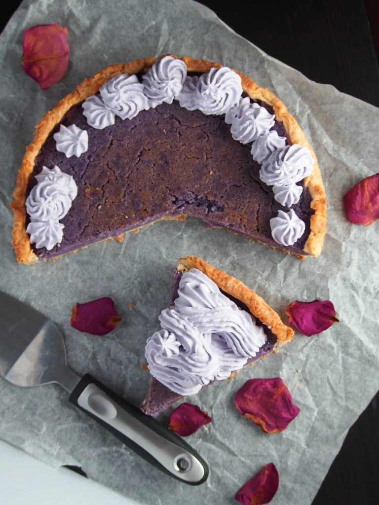 Ube pie combines purple yam mashed with cream and eggs and a flaky cream cheese pie crust. It is a wonderful addition to all your ube recipes.