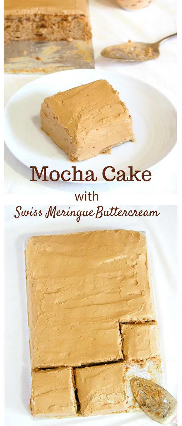 Moderately sweet and perfectly flavored with coffee, this mocha cake is a delightful dessert with a bitter sweet bite of coffee in its flavor.