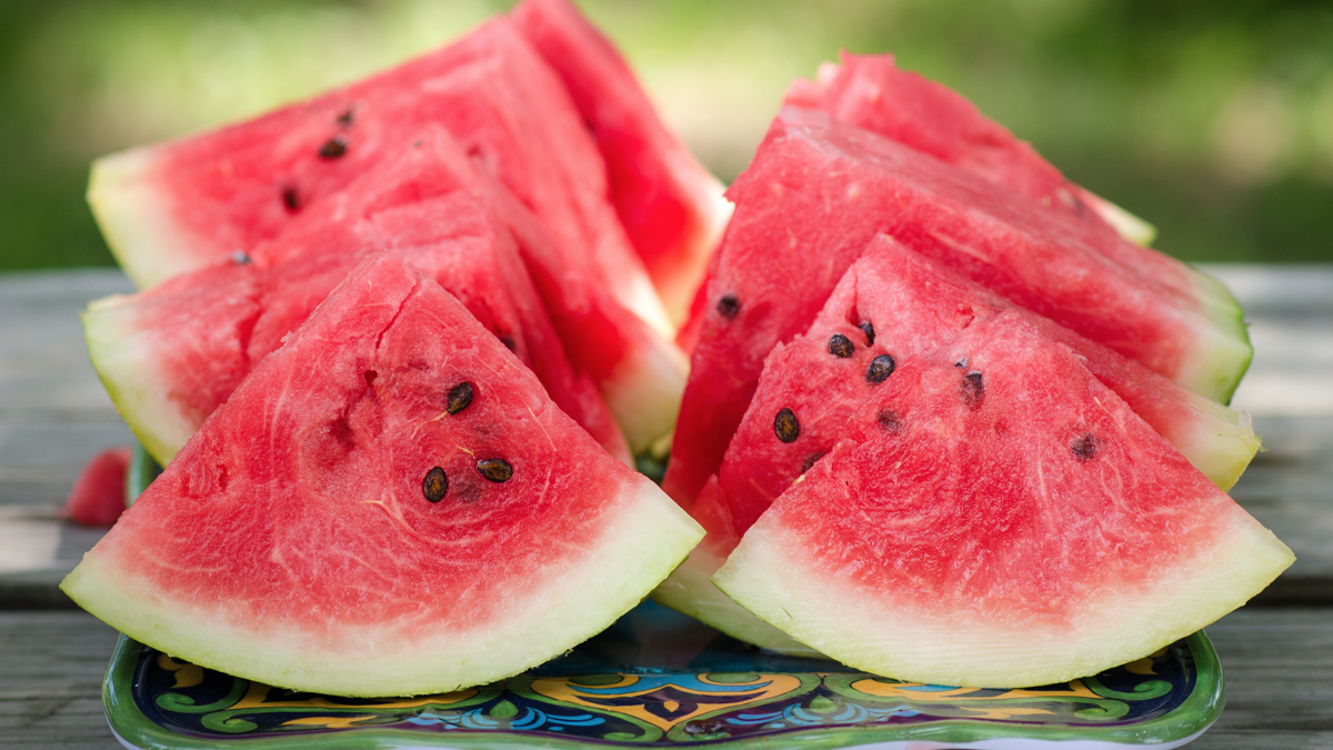 Watermelon slices with seeds