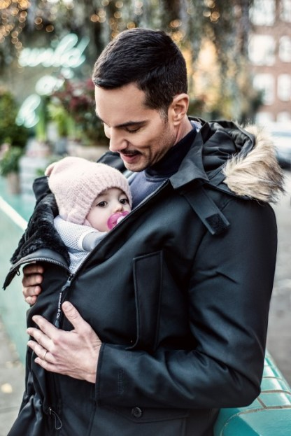 Man's babywearing coat