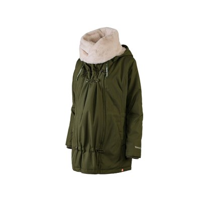 Wombat Wallaby babywearng and maternity jacket green with detachable collar side
